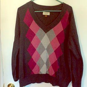 Sonoma 1X Grey Argyle Sweater
